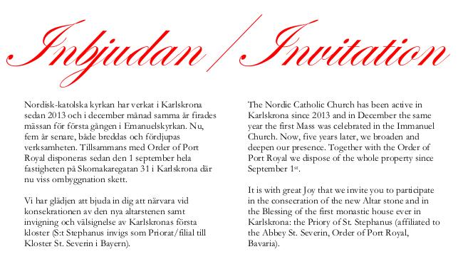 Invitation To Church Blessing In Karlskrona 8 9 December Nordic